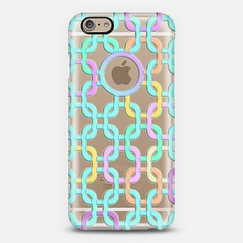 Pretty Pastel Chain Links on Crystal Transparent iPhone 6 case by Micklyn Le Feuvre | Casetify