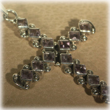 Sterling Silver Amethyst Cross Pendant