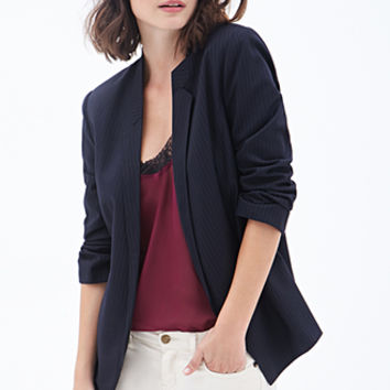 LOVE 21 Pinstriped Open-Front Blazer Navy/Grey
