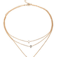 FOREVER 21 Layered Charm Necklace Gold/Clear One