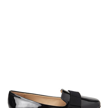 FOREVER 21 Faux Patent Bow Loafers Black