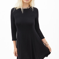 FOREVER 21 Long-Sleeved Skater Dress Black