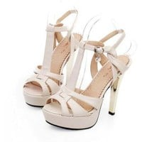 Leatherette Upper Stiletto Heel Sandals With Buckle Wedding/ Party Shoes(0987-GUIXZ D1) More Colors Available - US$ 49.99