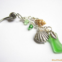 Green Sea Glass Belly Button Ring - Long Dangle Belly Ring, Beach Belly Button Jewelry