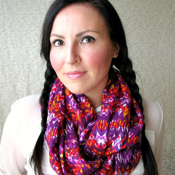 Infinity Loop Scarf, Boho-chic fashion accessory scarf, Fall Scarf, aztec tribal print infinity scarf