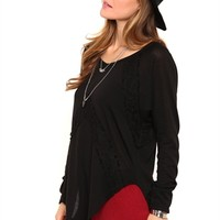 Long Sleeve High Low Tunic Top with Lace Details