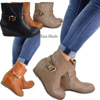 Women's Ankle Boots Wedge Heel Booties High Top Tan Black Khaki Shoes New