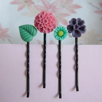 Set Of 4 Floral Hair Pins, Dusty Pink, Purple Flower, Green Leaf, Sun Flower