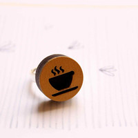 Ring with Hot Coffee in Golden and Black colors - ICON collection