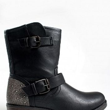 RICHIE-05-9-4 Rhinestone Ankle Booties Women Boots BLACK Bare Feet Shoes