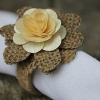 Rustic Napkin Rings Burlap and Wood Roses- Set of 4