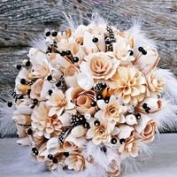 Black and Creamy White Wood Bouquet or Centerpiece
