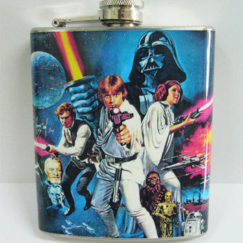 Vintage Star Wars Poster 7 oz  Stainless Flask