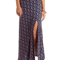 Floral Print Single Slit Maxi Skirt by Charlotte Russe - Blue Combo