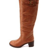 Bamboo Block Heel Knee-High Riding Boots - Chestnut