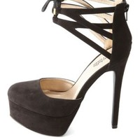 Cut-Out Lace-Up Ankle Cuff Platform Heels by Charlotte Russe - Black