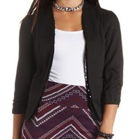 Sequin-Trimmed Open Front Cropped Blazer by Charlotte Russe - Black