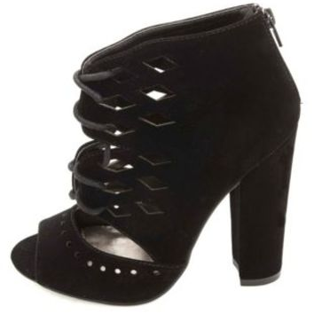 Qupid Laser Cut-Out Lace-Up Chunky Heels by Charlotte Russe - Black