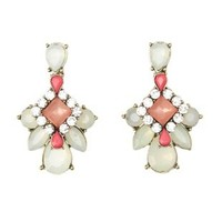 Jeweled Cluster Drop Earrings by Charlotte Russe - Mint