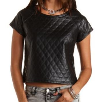 Quilted Faux Leather Tee by Charlotte Russe - Black