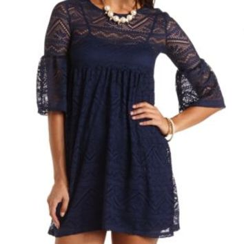 Bell Sleeve Lace Babydoll Dress by Charlotte Russe - Navy