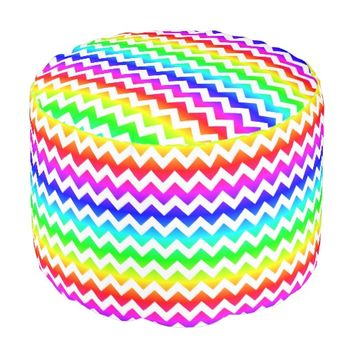 Rainbow Bright White Chevron Pouf Seat