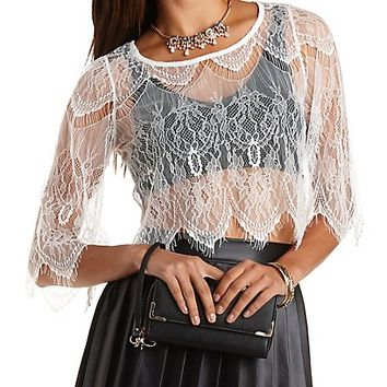 Sheer Eyelash Lace Crop Top by Charlotte Russe - Ivory