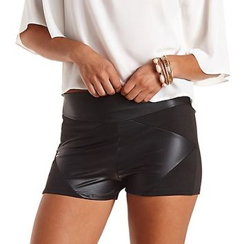 Paneled Faux Leather Shorts by Charlotte Russe - Black