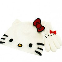 Hello Kitty White Face Beanie and Glove Set