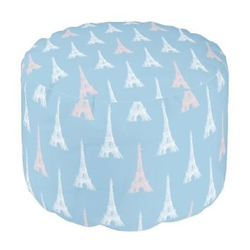 Paris Eiffel Tower Pink Blue Pouf Seat
