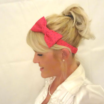 Pink polka dot fabric bow stretch headband for adult/child retro/cute