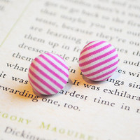 Candy Stripe Button Earrings, Pink,.. on Luulla