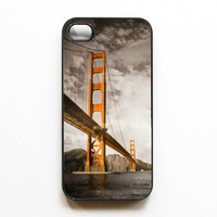 "Iphone Case. ""Orange Towers"". Golden Gate Bridge. San Francisco. Black. Gray. Orange. clouds. Bay. SF Giants. Giants. iphone 4 case. 4s case"