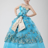 Ball Gown Strapless 3D Flower Floor-length Sequined&Lace Blue Wedding Dress XY2x26 - $47.38 : DressLoves.com.