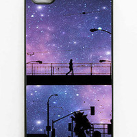 "Iphone Case. ""Night Walk"". Iphone 4 case. 4s case. Stars. Purple. City. Night sky. Dreamy. Person. Urban. Bright. Black. Cell phone case"