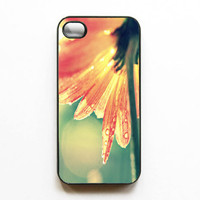 "Iphone Case. ""Sunshine After the Rain"". Gerber Daisy. Flower. Petals.Orange. Green. Yellow. Bright. Colorful. Spring. Iphone 4 case. 4s case"