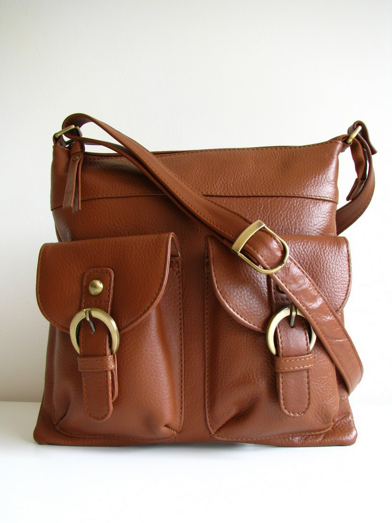 Brown Leather Pocket Messenger Bag on Luulla