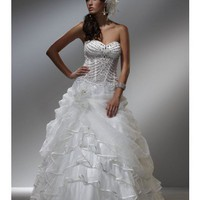 Strapless Orangza Ball Gown with Heavy Pearl Bodice Style YSP5005 - $176.56 : Maxnina.com