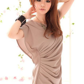 Women Asymmetric Pleated Ruffle Stylish Mini Dress