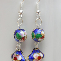 Blue dangle cloisonne earrings