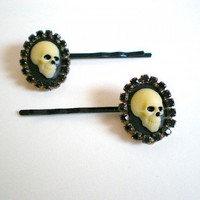 Death Rhinestone Cameo Hair Pins by NaughteeBits on Sense of Fashion