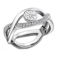 Engagement Ring - Round Diamond Bezel Set Intertwined Swirl Engagement Ring 0.35 tcw. In 14K White Gold - ES510W