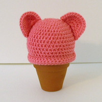 Crochet  Baby Hat, Newborn, Pink with Ears
