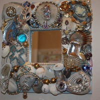 Vintage Jewelry Mosaic Mirror Beach Ocean Sea Shell