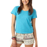 Tribal Print Denim Short
