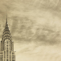 New York City photography Manhattan photo Chrysler building art deco big apple sepia neutral decor architecture - Skyline 8x12