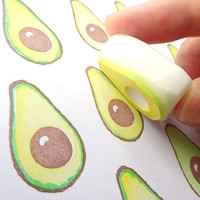 Avocado rubber stamp, Avocado stamp, Cute vegetable, Fresh fruits, Rubber stamp cute, Funny stamp, Kawaii stationery