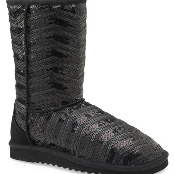 Aeropostale Chevron Sequin Boot - Black,