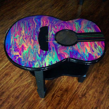Colorful Glow in the Dark Guitar Accent Table