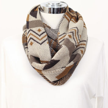 Tribal Sweater Scarf Brown » Vertage Clothing